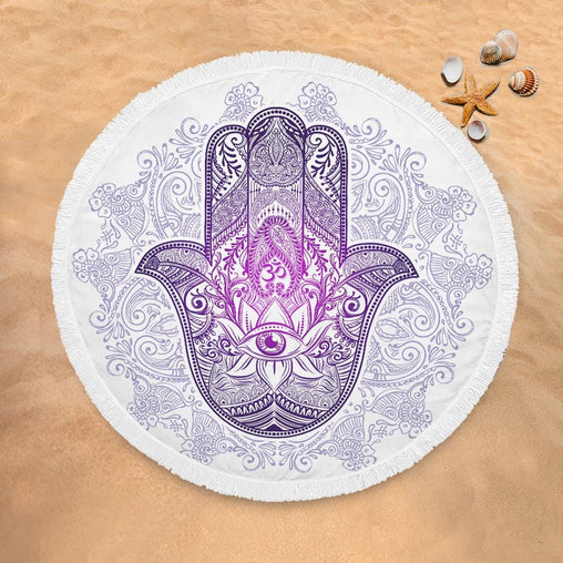 Purple Hamsa Hand Lightweight Beach Towel-Purple Hamsa Hand-Little Squiffy
