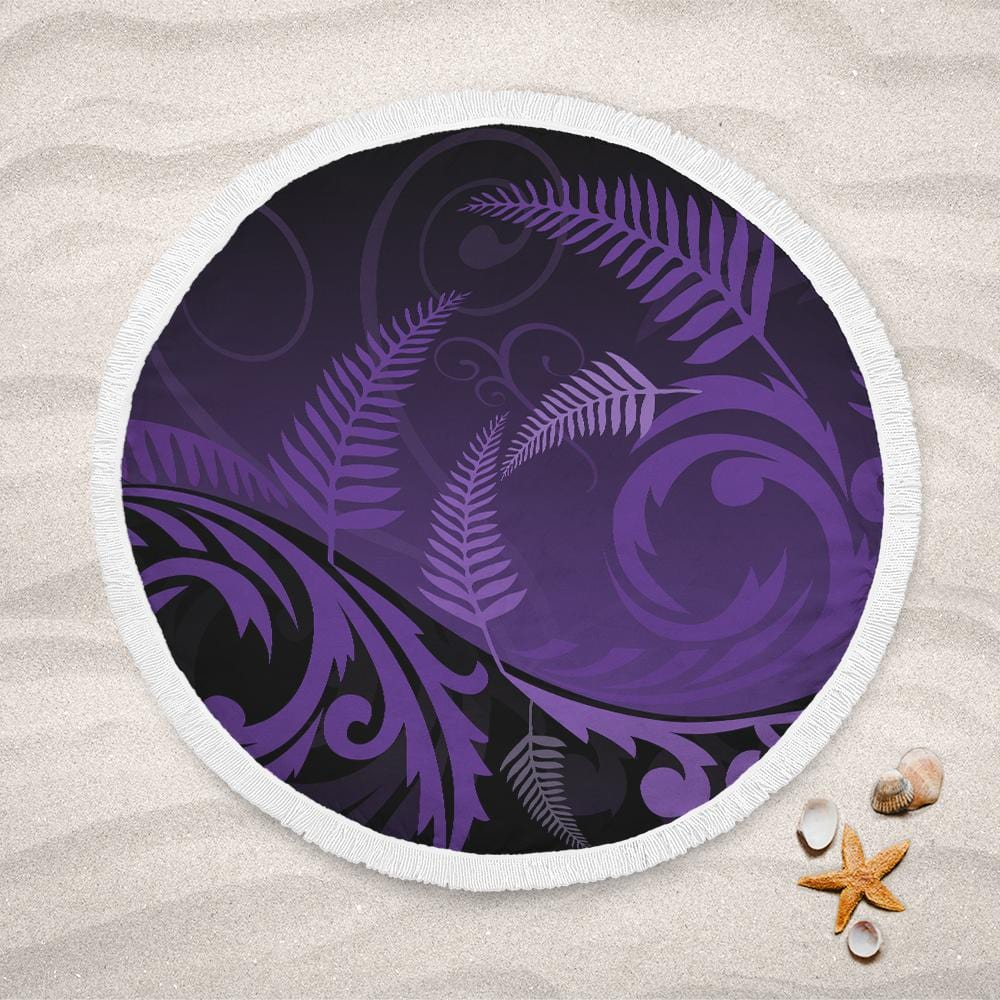 Purple Silver Fern Lightweight Beach Towel-Purple Silver Fern-Little Squiffy