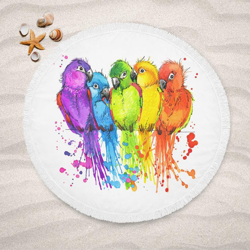 Rainbow Conure Lightweight Beach Towel-Rainbow Conure-Little Squiffy