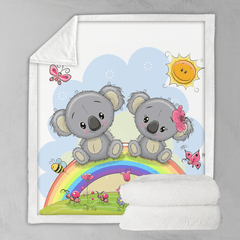 Rainbow Koalas Blanket-Rainbow Koalas-Little Squiffy