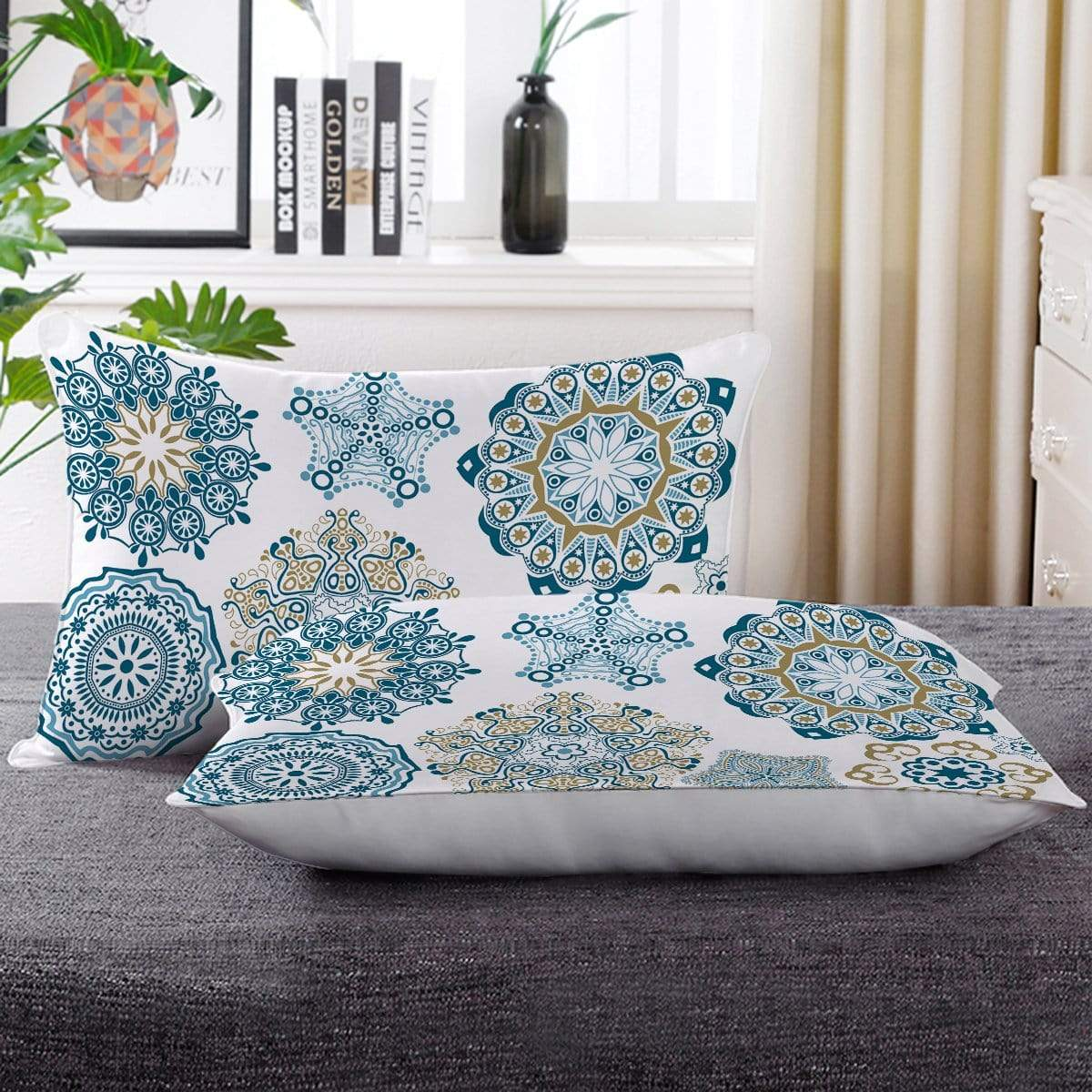 Turquoise Mosaic Mandala Pillow Cases-Little Squiffy