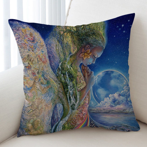 Sadness Of Gaia Cushion Cover-Josephine Wall-Little Squiffy