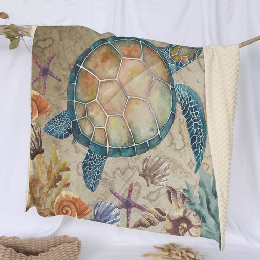 Sandy Turtle Deluxe Minky Blanket-Sandy Turtle-Little Squiffy