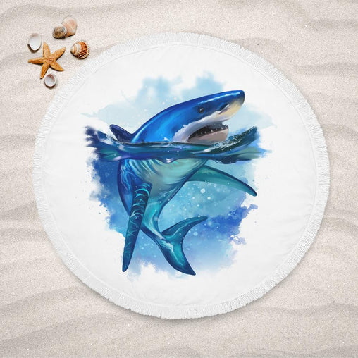 Shark King Of The Sea Lightweight Beach Towel-Shark King Of The Sea-Little Squiffy