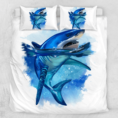 Shark King Of The Sea Quilt Cover Set-Shark King Of The Sea-Little Squiffy