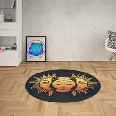 Sun And Moon Round Mat-Sun And Moon-Little Squiffy