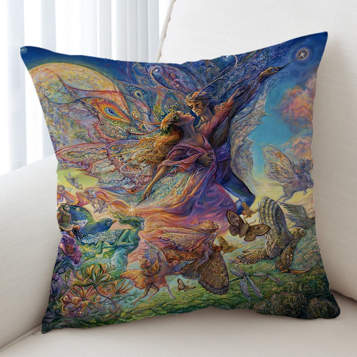 Titania And Oberon Cushion Cover-Josephine Wall-Little Squiffy