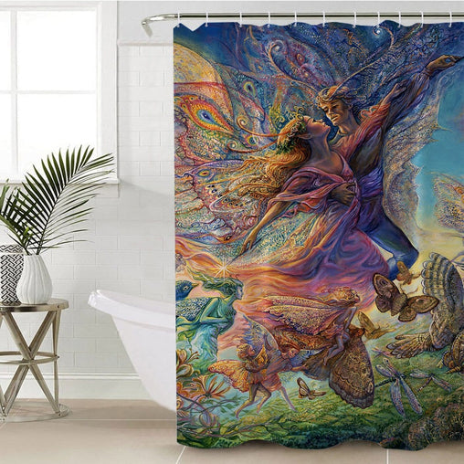 Titania And Oberon Shower Curtain-Josephine Wall-Little Squiffy