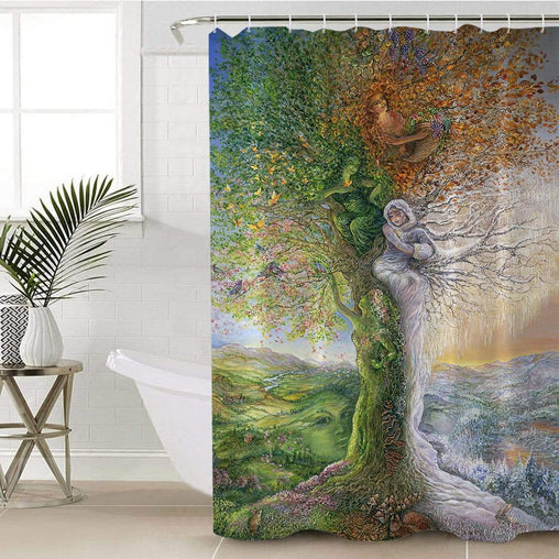 Tree Of Four Seasons Shower Curtain-Josephine Wall-Little Squiffy