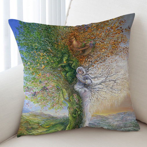 Tree Of Four Seasons Cushion Cover-Josephine Wall-Little Squiffy