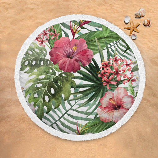 Tropical Hibiscus Lightweight Beach Towel-Tropical Hibiscus-Little Squiffy
