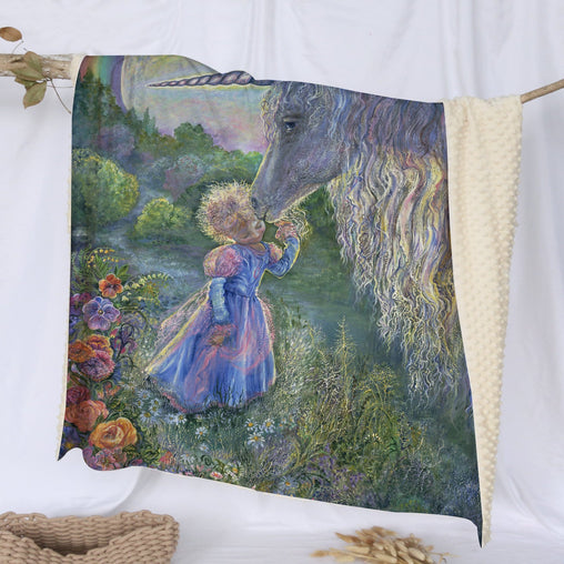 Unicorn Kiss Deluxe Minky Blanket-Josephine Wall-Little Squiffy