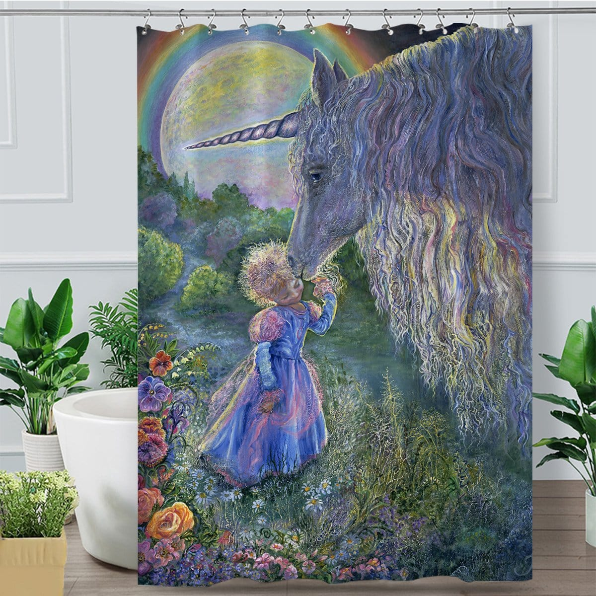 Unicorn Kiss Shower Curtain-Josephine Wall-Little Squiffy