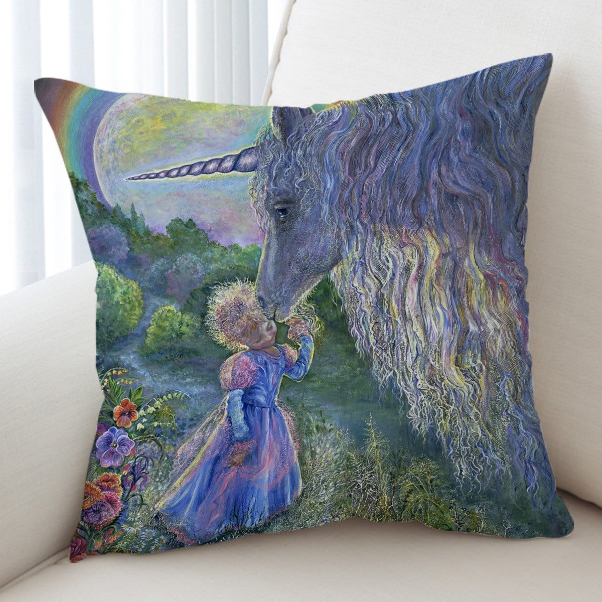 Unicorn Kiss Cushion Cover-Josephine Wall-Little Squiffy