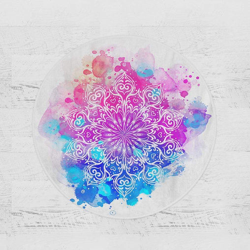Watercolour Mandala Round Minky Blanket-Watercolour Mandala-Little Squiffy