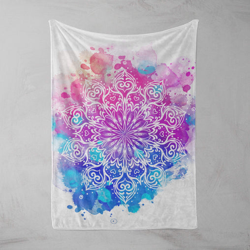Watercolour Mandala Squiffy Minky Blanket-Watercolour Mandala-Little Squiffy