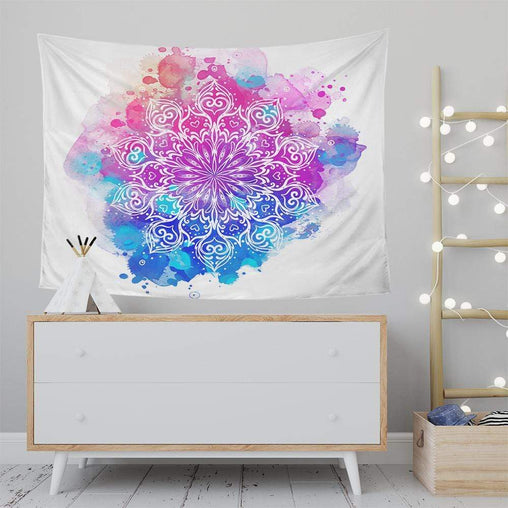 Watercolour Mandala Tapestry-Watercolour Mandala-Little Squiffy
