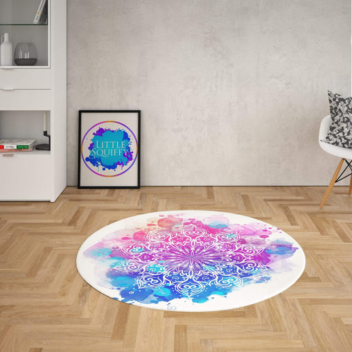 Watercolour Mandala Round Mat-Watercolour Mandala-Little Squiffy