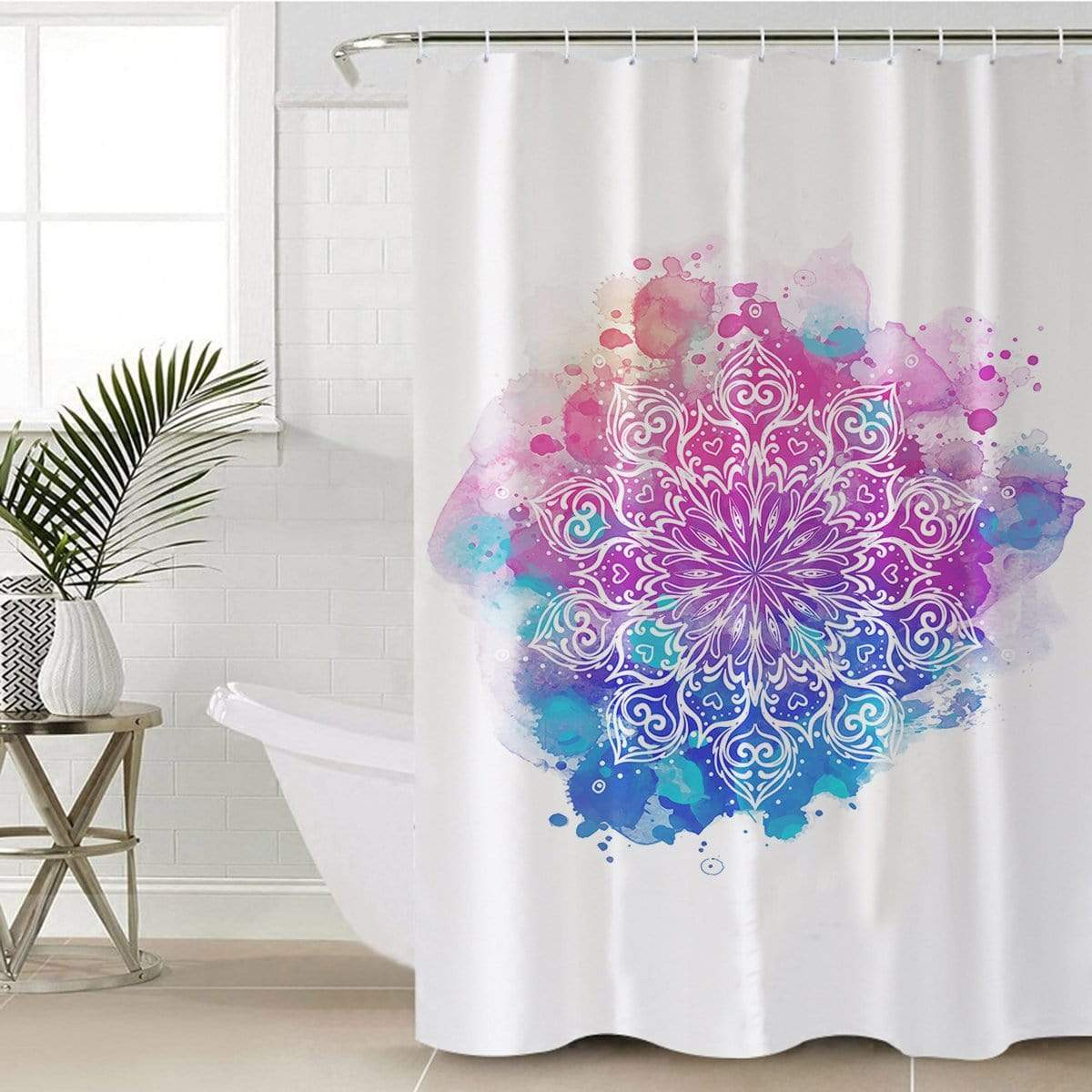 Watercolour Mandala Shower Curtain-Watercolour Mandala-Little Squiffy