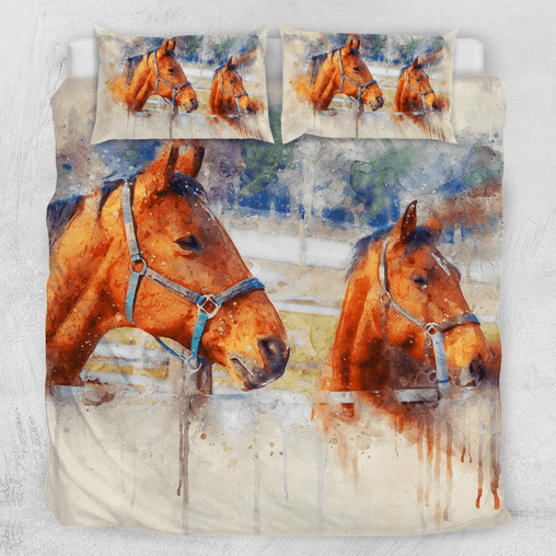 Horses - Watercolour Painting Quilt Cover Set-Horses - Watercolour Painting-Little Squiffy