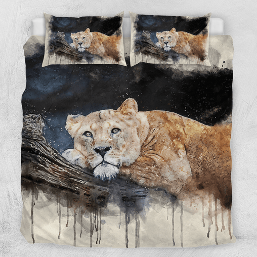 Lioness - Watercolour Painting Quilt Cover Set-Lioness - Watercolour Painting-Little Squiffy