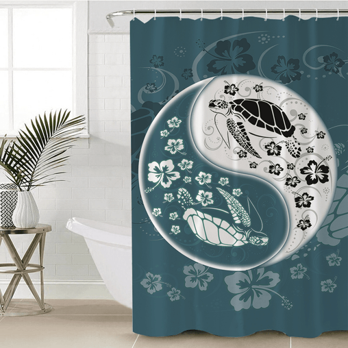 Yin Yang Sea Turtles Shower Curtain-Yin Yang Sea Turtles-Little Squiffy