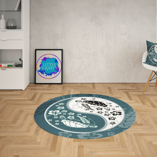 Yin Yang Sea Turtles Round Mat-Yin Yang Sea Turtles-Little Squiffy