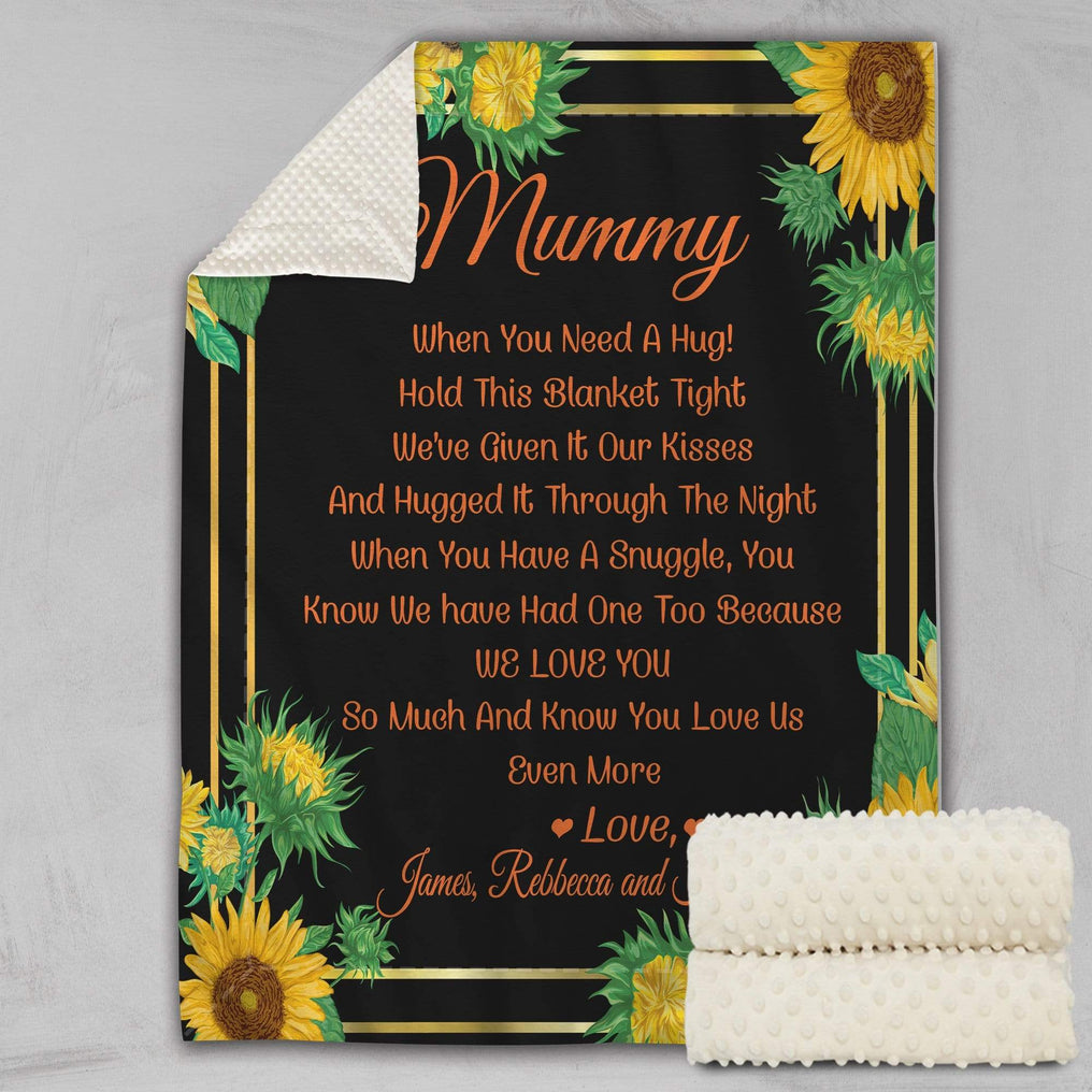 When You Need A Hug Personalised Deluxe Minky Blanket - Sunflower-Bubble Minky-Little Squiffy