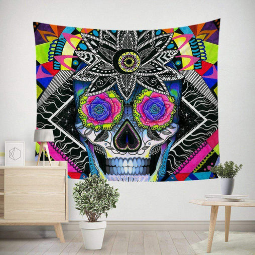 Sugar Skull Tapestry-Little Squiffy