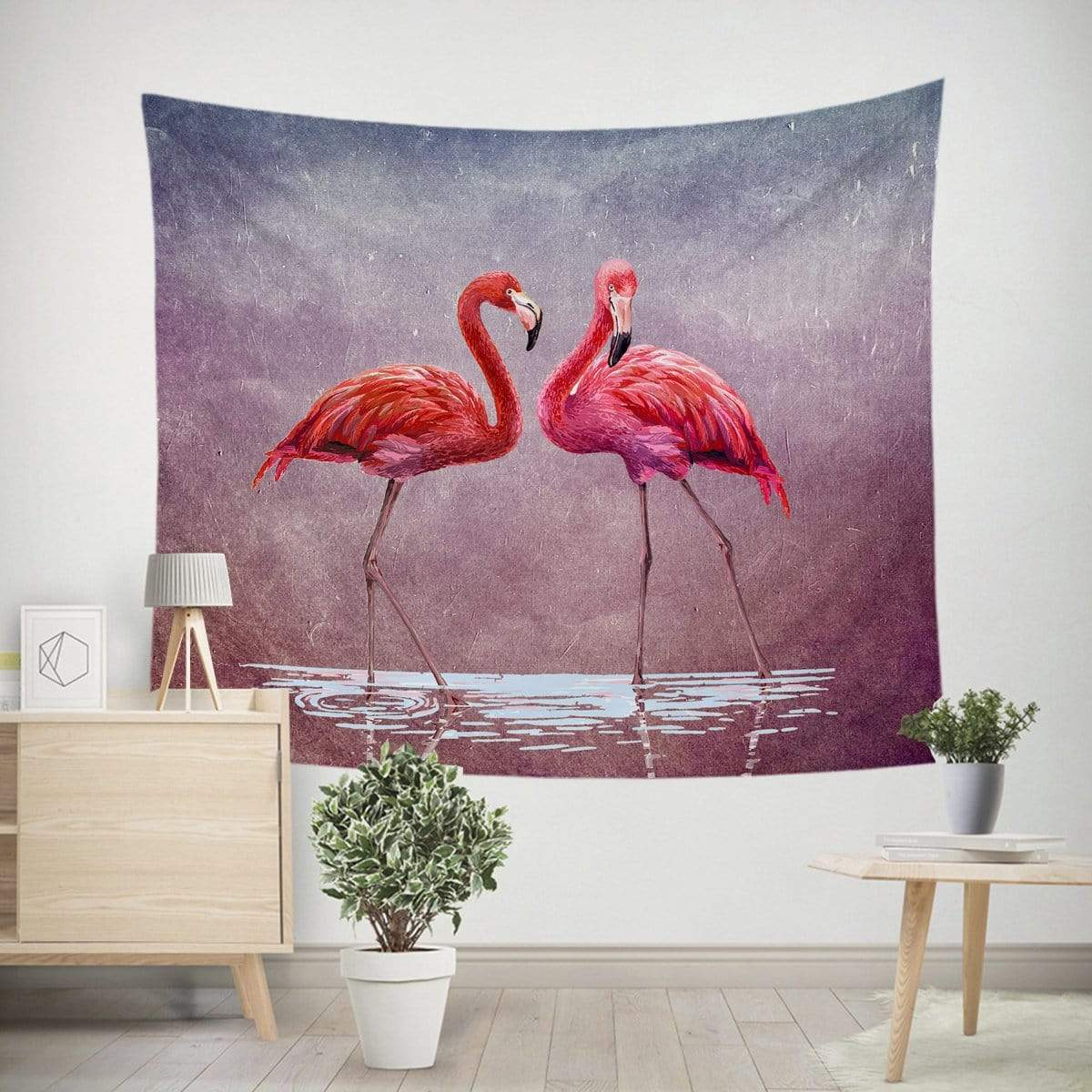 Pink Lake Flamingo Tapestry-Little Squiffy