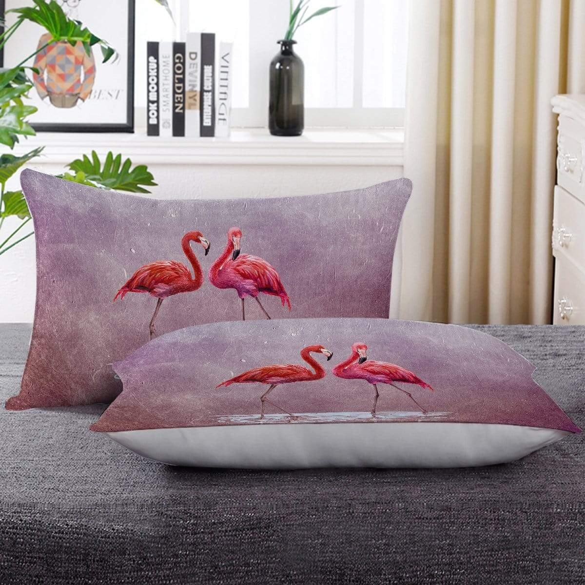 Pink Lake Flamingo Pillow Cases-Little Squiffy