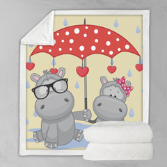 Umbrella Animals - Hippos Blanket-Umbrella Animals - Hippos-Little Squiffy