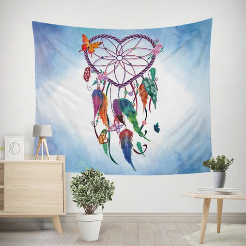 Blue Heart Dreamcatcher Tapestry-Little Squiffy