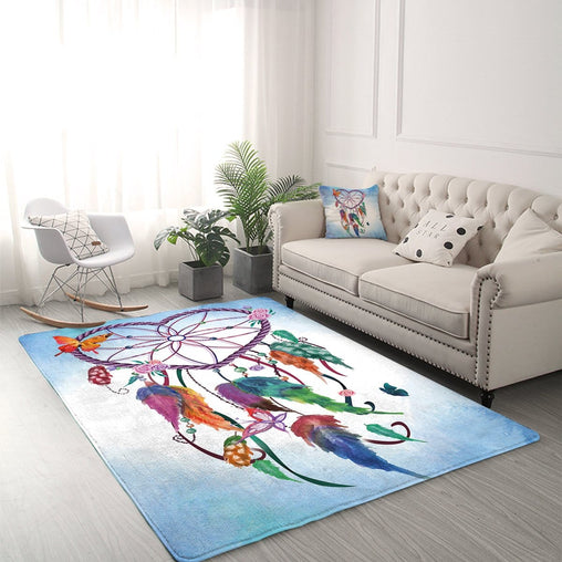 Blue Heart Dreamcatcher Rug-Little Squiffy