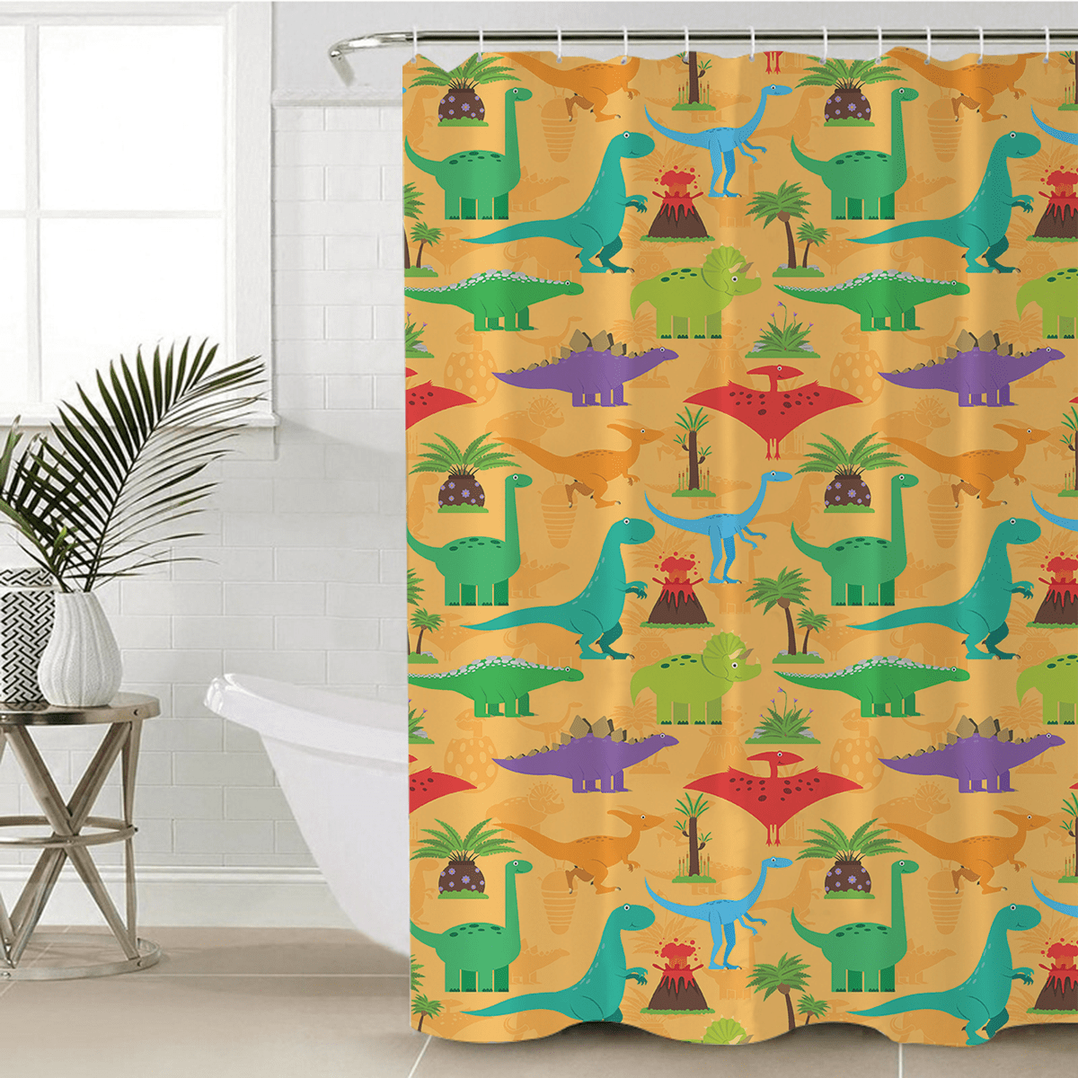 Dinosaur Mania Shower Curtain-Dinosaur Mania-Little Squiffy