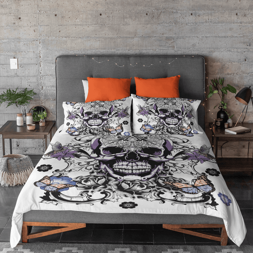 Butterfly Sugar Skull Quilt Cover Set-Butterfly Sugar Skull-Little Squiffy