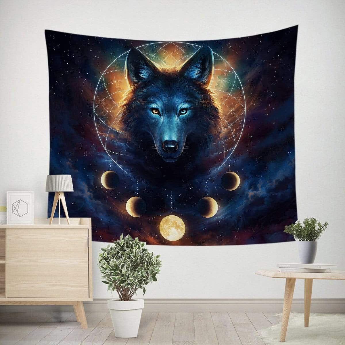 Galaxy Wolf Moon Dreamcatcher Tapestry-Little Squiffy