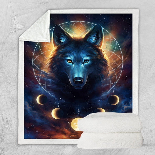 Galaxy Wolf Moon Dreamcatcher Blanket-Little Squiffy