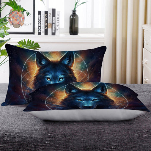 Galaxy Wolf Moon Dreamcatcher Pillow Cases-Little Squiffy