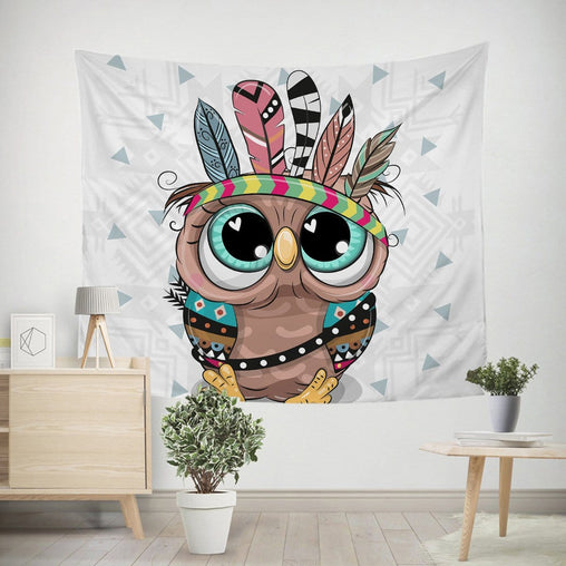Cartoon Owl Tapestry-Little Squiffy