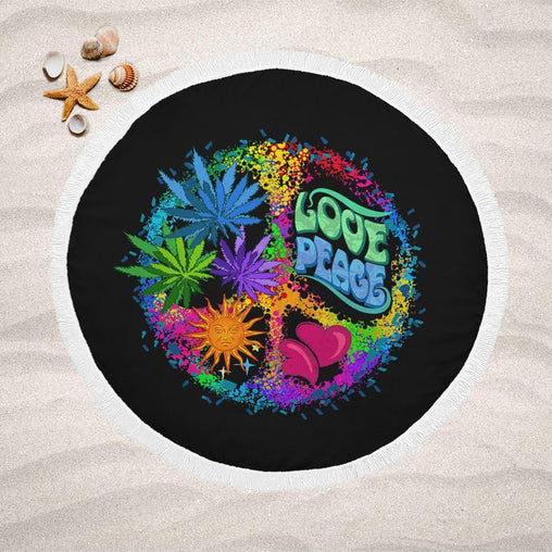 Hippie Love And Peace Lightweight Beach Towel-Hippie Love And Peace-Little Squiffy