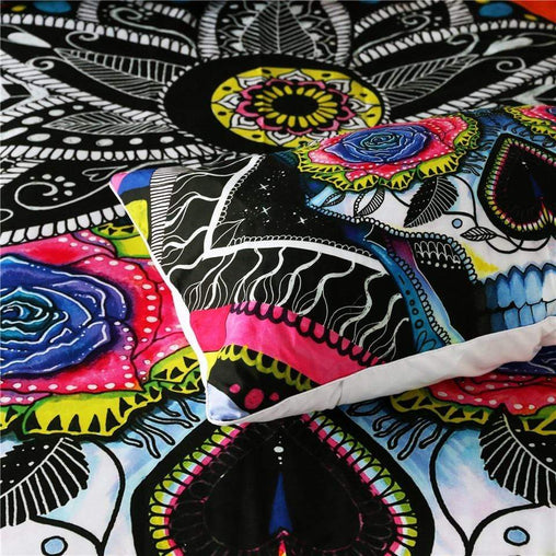 Sugar Skull Quilt Cover Set-Little Squiffy