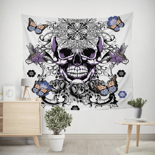 Butterfly Sugar Skull Tapestry-Butterfly Sugar Skull-Little Squiffy