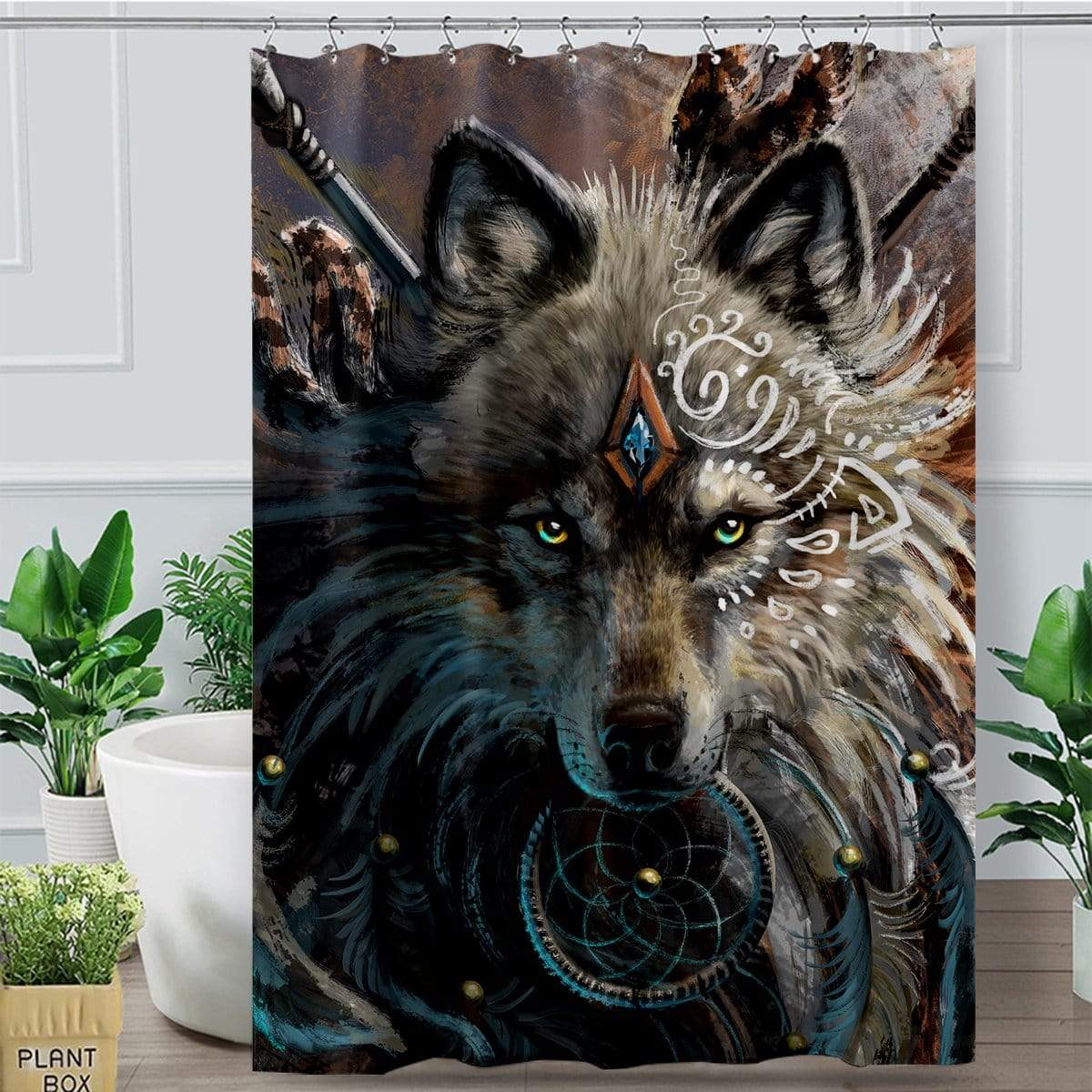 Wolf Warrior Shower Curtain-Wolf Warrior-Little Squiffy