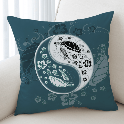 Yin Yang Sea Turtles Cushion Cover-Yin Yang Sea Turtles-Little Squiffy