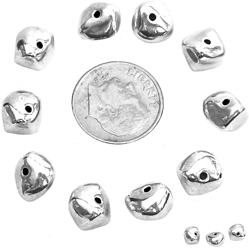 10 Antique silver freeform nugget beads smooth 9x6mm spacer