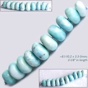 Rare Larimar 10 Dominican Republic ~8.1-10.2 x 3.5-5mm Caribbean blue white stone rondelle beads set #2