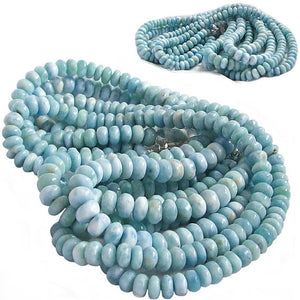 "Rare Larimar Dominican rondelles 18"" graduated ~8.2-9+mm Caribbean blue white Dominican stone beads"