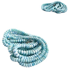 Load image into Gallery viewer, Rare Larimar 7 Dominican Republic ~11-11.5x6-9mm Caribbean blue white stone rondelle beads