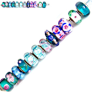 12 European lampwork glass, metal &/or acrylic beads large ~4-5mm big holes | set #30d_blu3